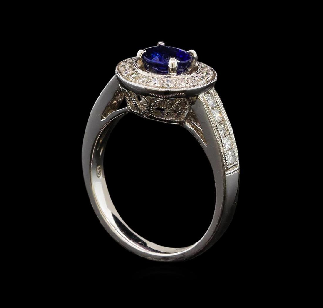 1.12 ctw Sapphire and Diamond Ring - 14KT White Gold - 2
