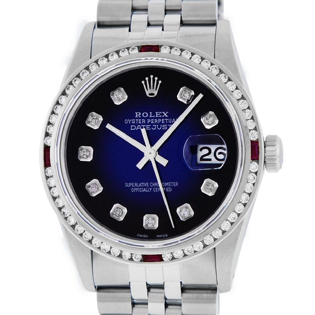 Rolex Mens SS Blue Vignette Diamond & Ruby Channel Set