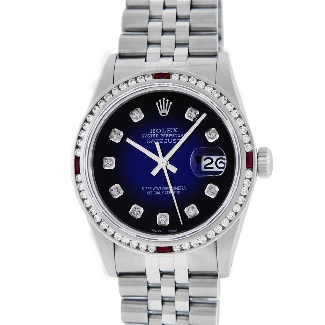 Rolex Mens SS Blue Vignette Diamond & Ruby Channel Set - 2