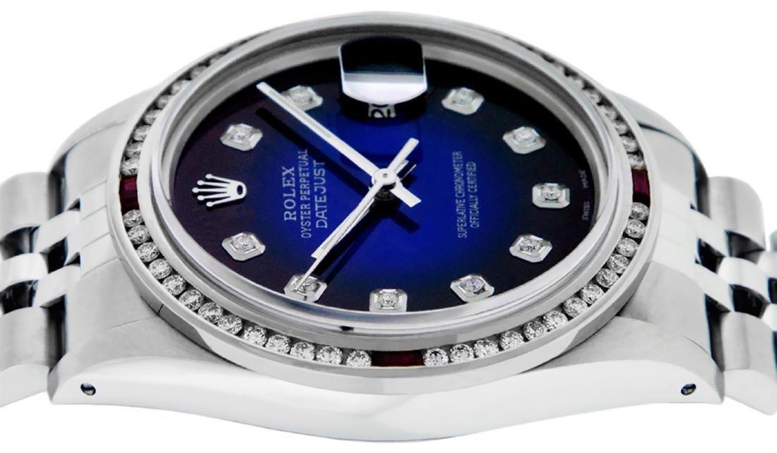 Rolex Mens SS Blue Vignette Diamond & Ruby Channel Set - 3