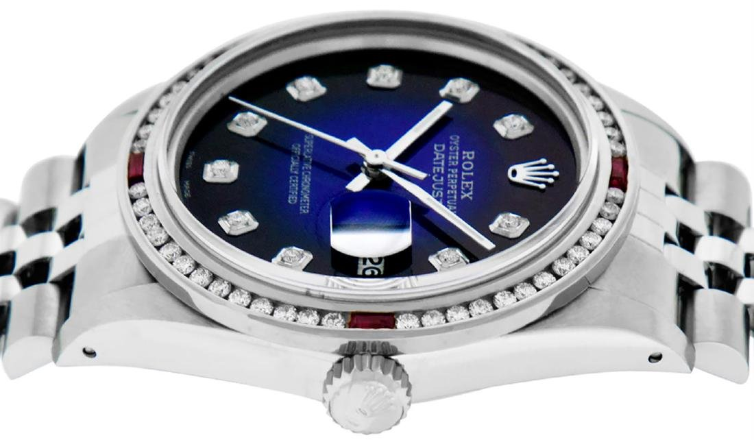 Rolex Mens SS Blue Vignette Diamond & Ruby Channel Set - 4
