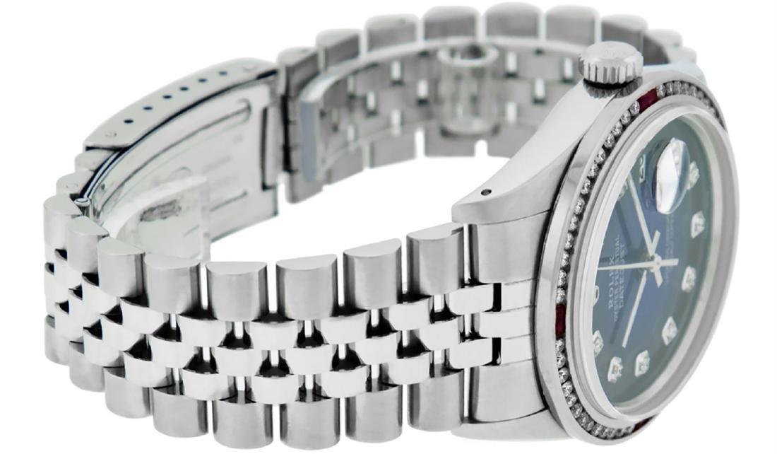 Rolex Mens SS Blue Vignette Diamond & Ruby Channel Set - 5