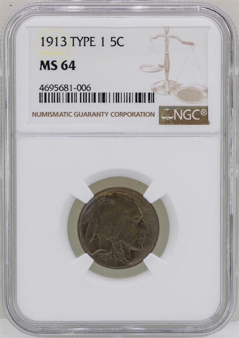 1913 Type 1 Buffalo Nickel Coin NGC MS64