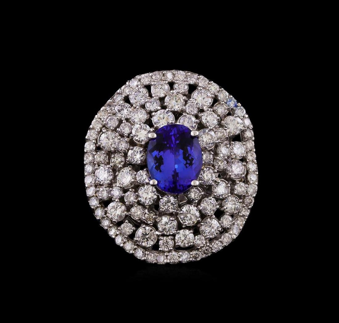 14KT White Gold 2.55 ctw Tanzanite and Diamond Ring - 2