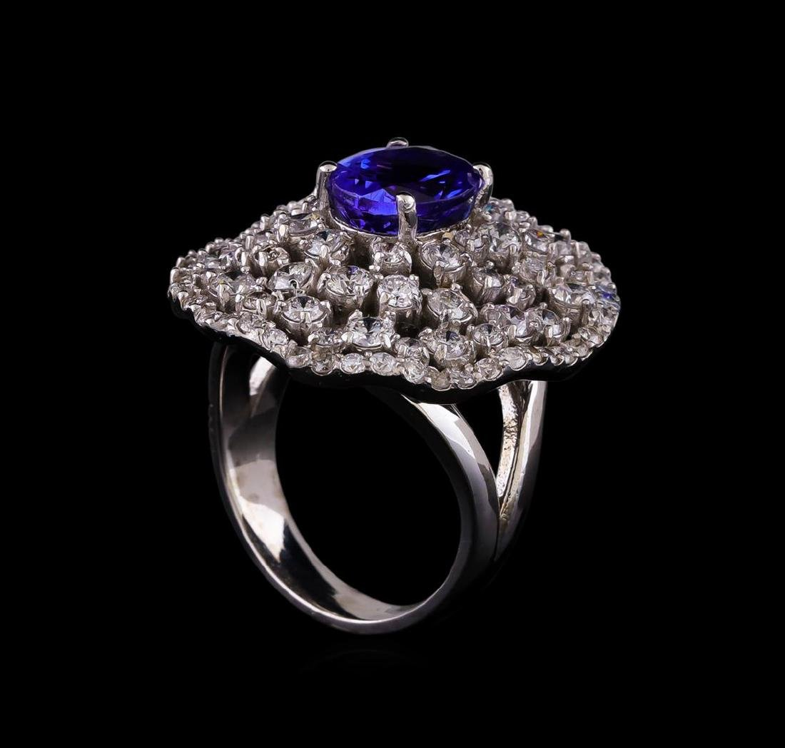14KT White Gold 2.55 ctw Tanzanite and Diamond Ring - 4