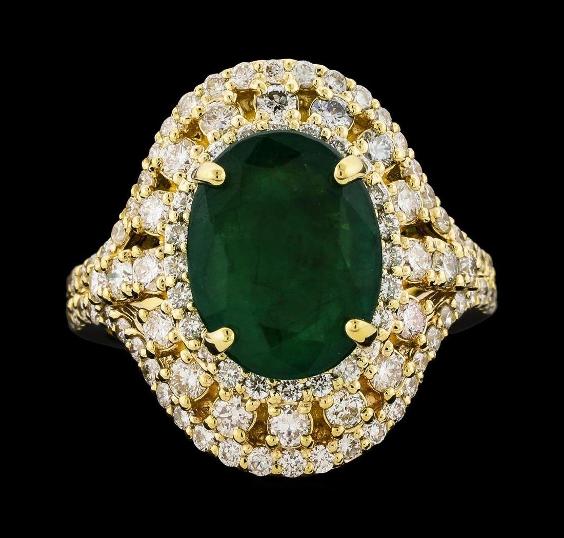 4.10 ctw Emerald and Diamond Ring - 14KT Yellow Gold - 2
