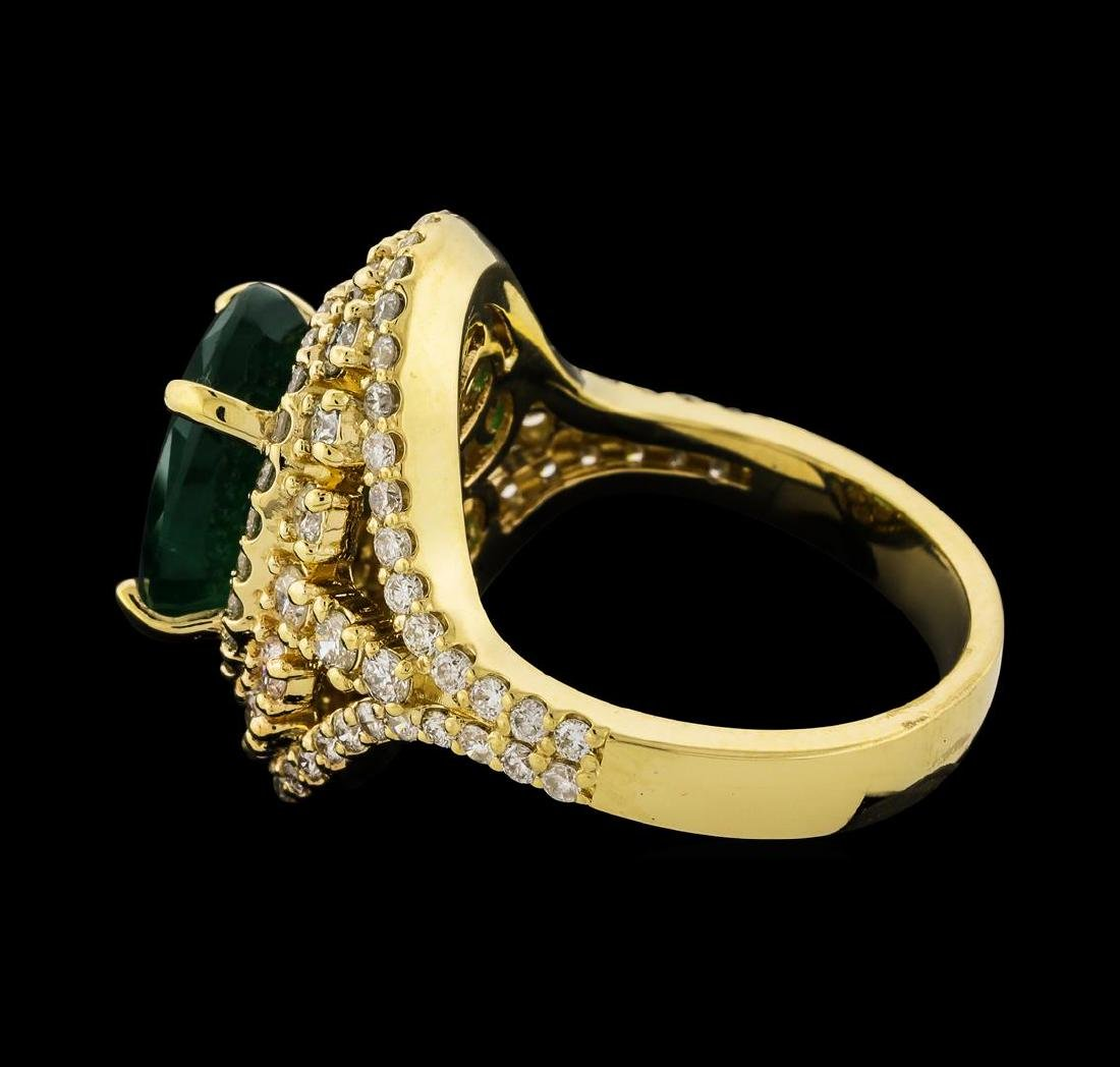 4.10 ctw Emerald and Diamond Ring - 14KT Yellow Gold - 3