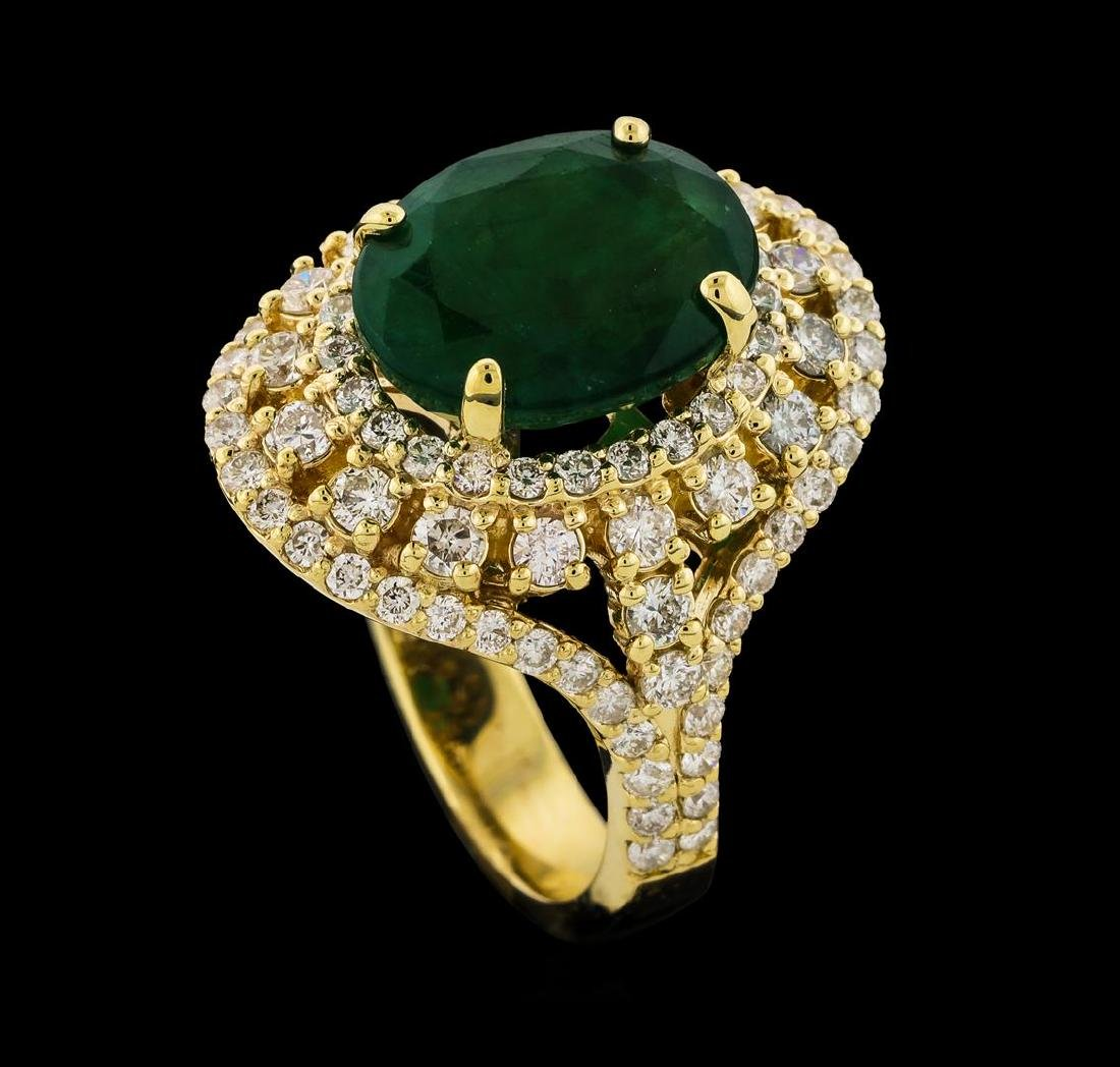 4.10 ctw Emerald and Diamond Ring - 14KT Yellow Gold - 4