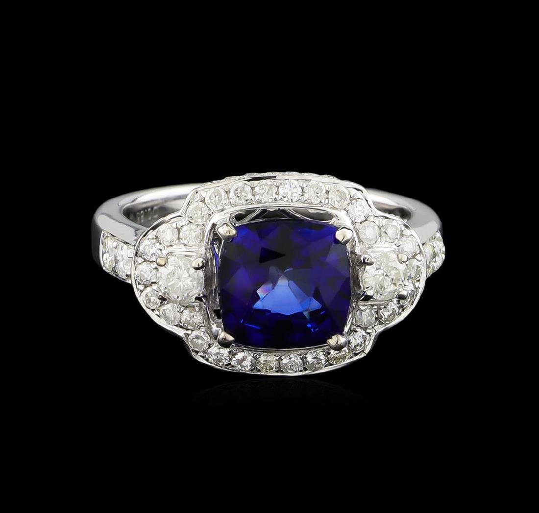 14KT White Gold 2.58 ctw Sapphire and Diamond Ring - 2