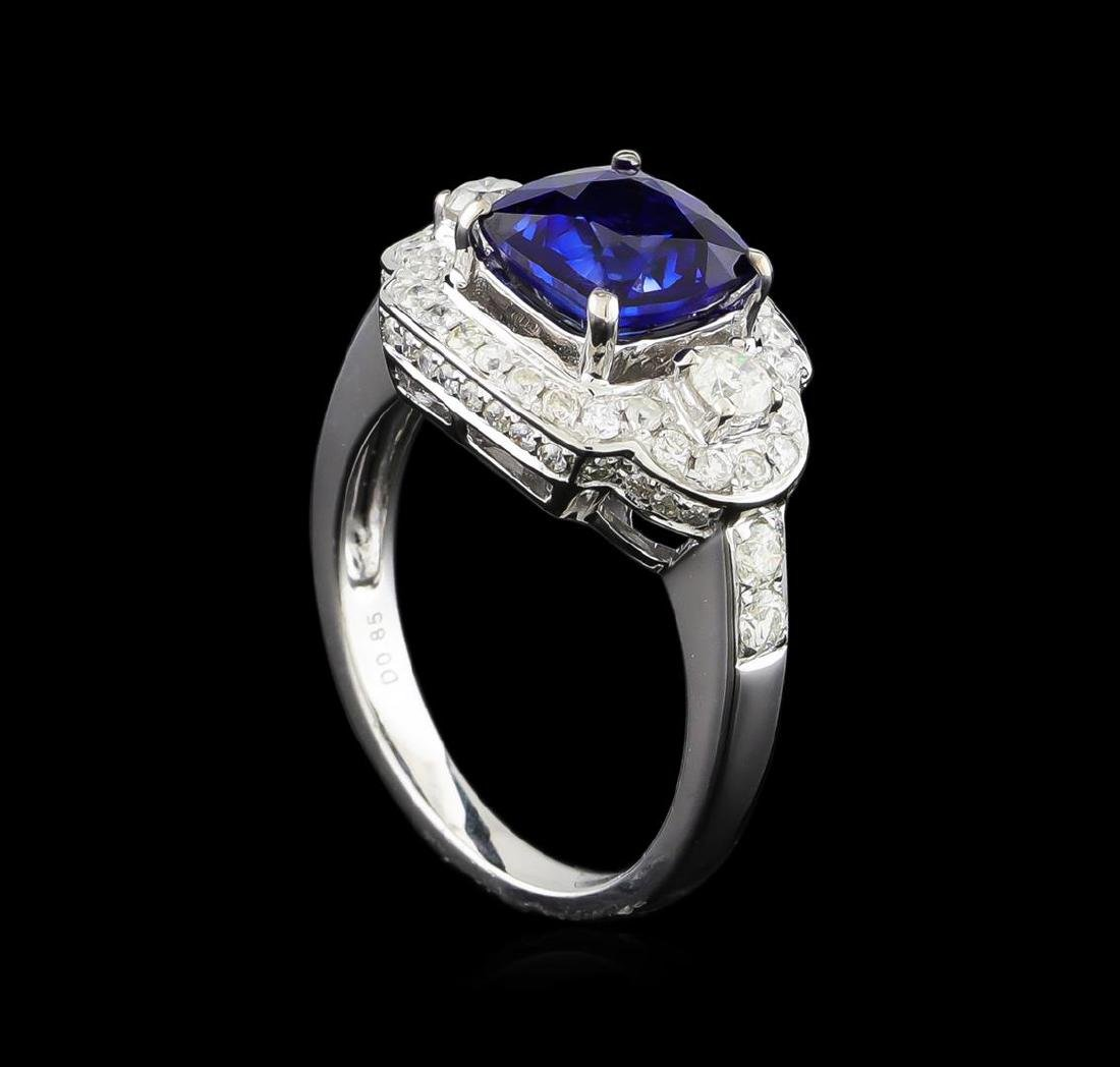 14KT White Gold 2.58 ctw Sapphire and Diamond Ring - 4
