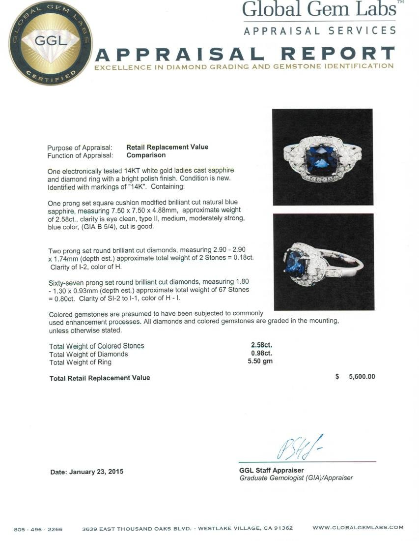 14KT White Gold 2.58 ctw Sapphire and Diamond Ring - 5