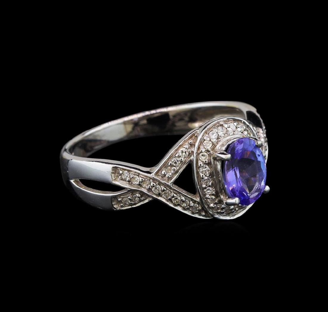 14KT White Gold 0.93 ctw Tanzanite and Diamond Ring