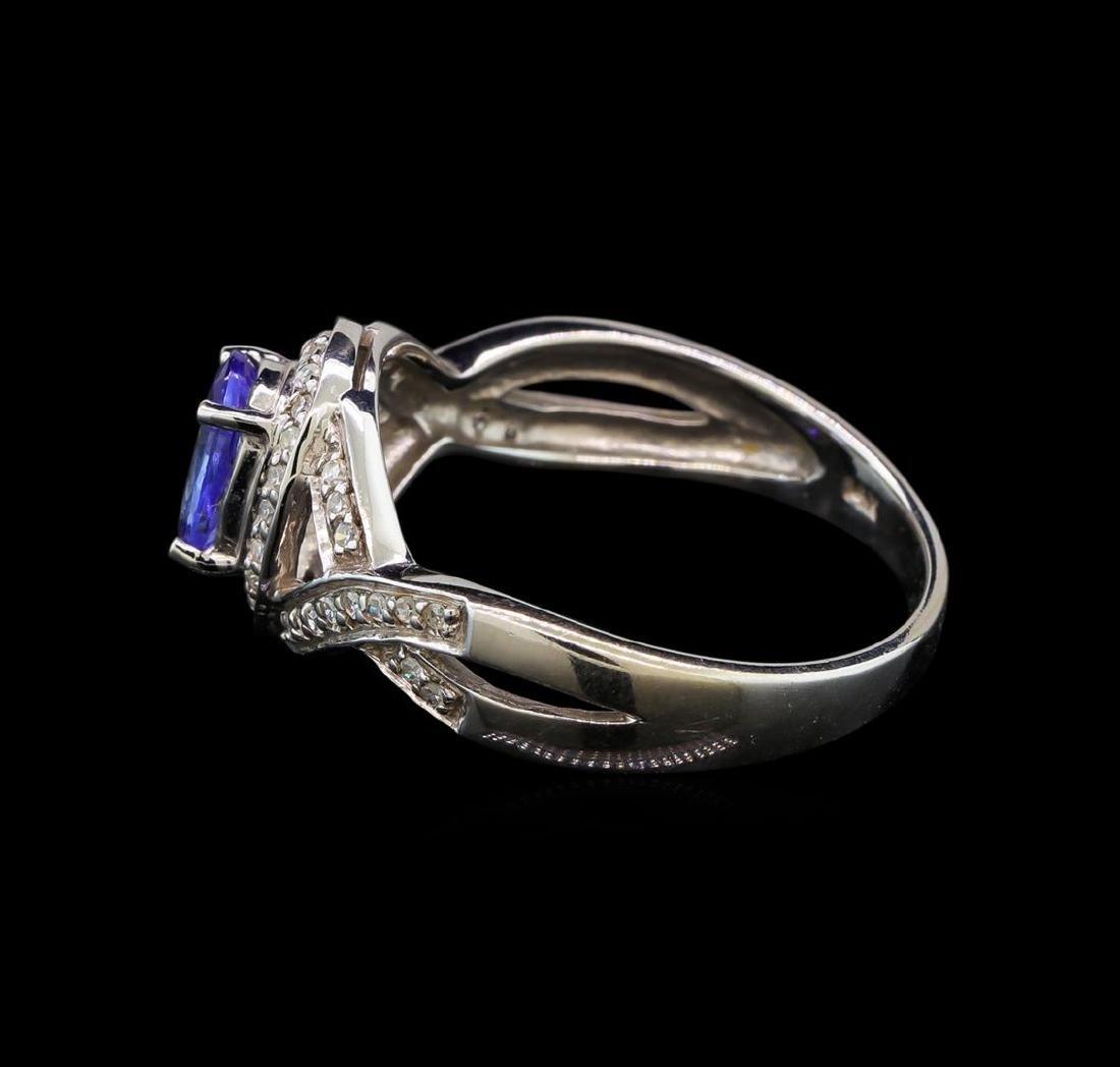 14KT White Gold 0.93 ctw Tanzanite and Diamond Ring - 3