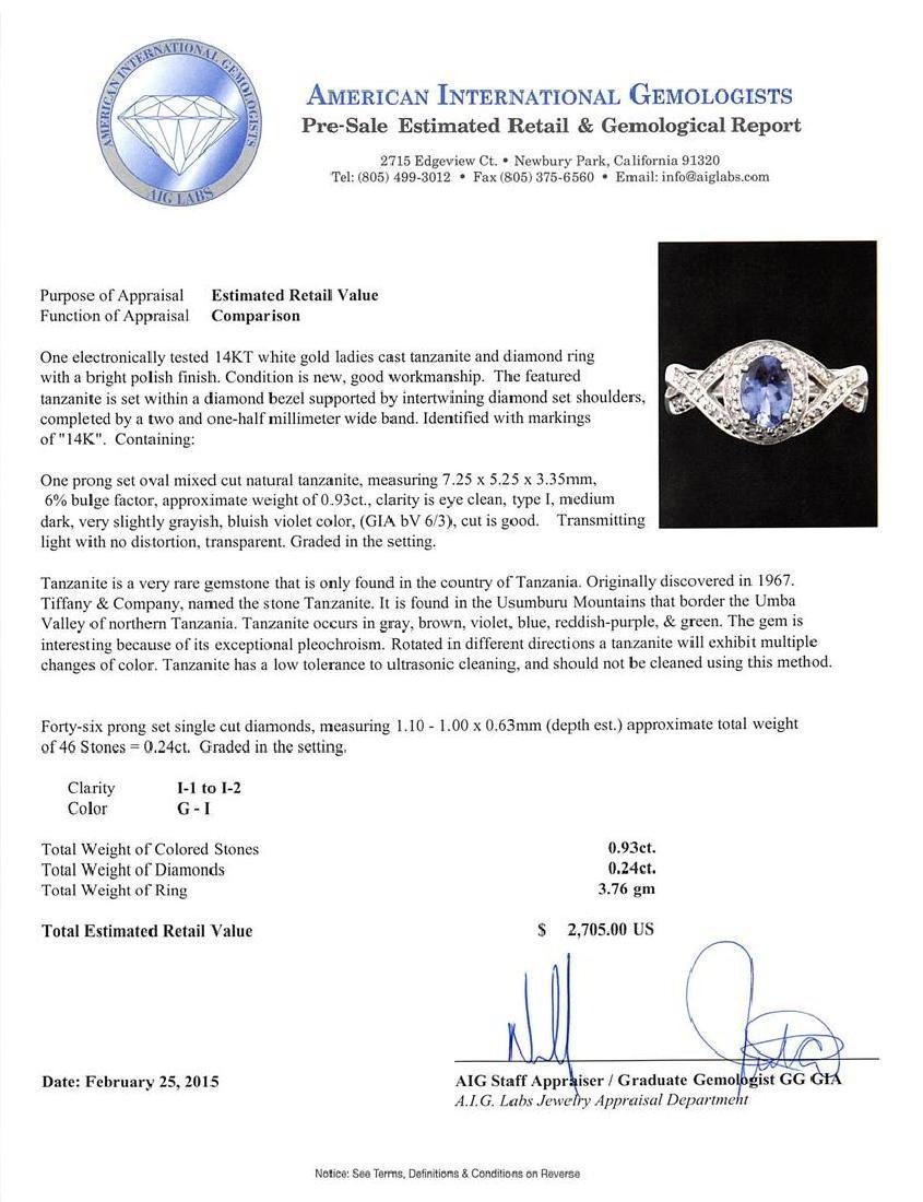 14KT White Gold 0.93 ctw Tanzanite and Diamond Ring - 5