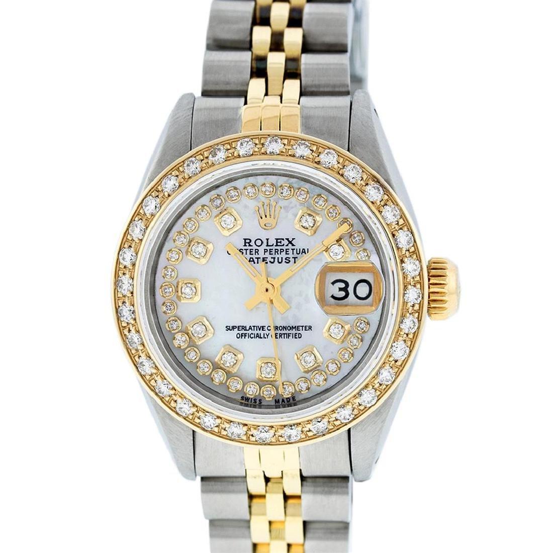 Rolex Ladies 2 Tone 14K MOP String Diamond Datejust