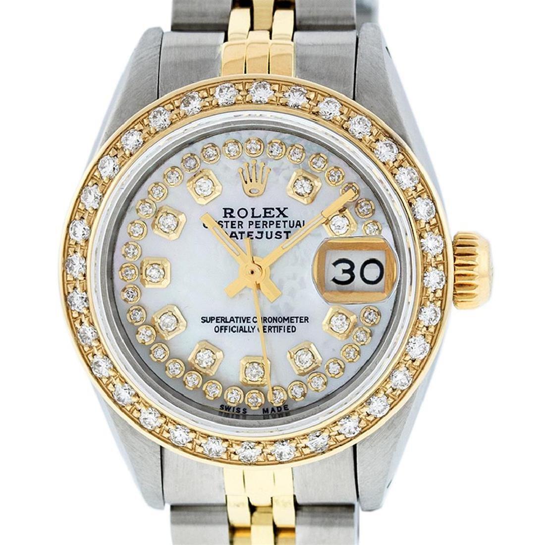 Rolex Ladies 2 Tone 14K MOP String Diamond Datejust - 2