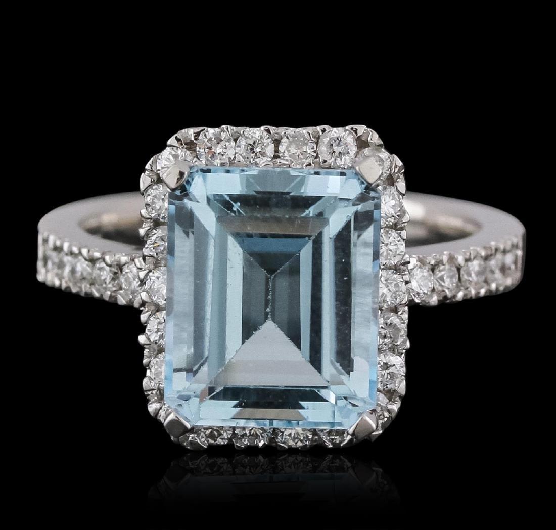 14KT White Gold 5.46 ctw Topaz and Diamond Ring