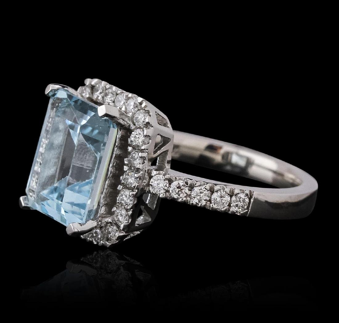 14KT White Gold 5.46 ctw Topaz and Diamond Ring - 2