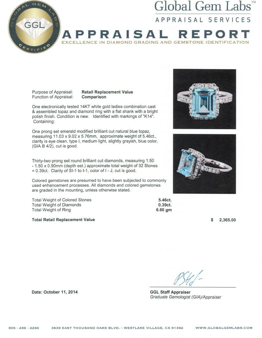 14KT White Gold 5.46 ctw Topaz and Diamond Ring - 3