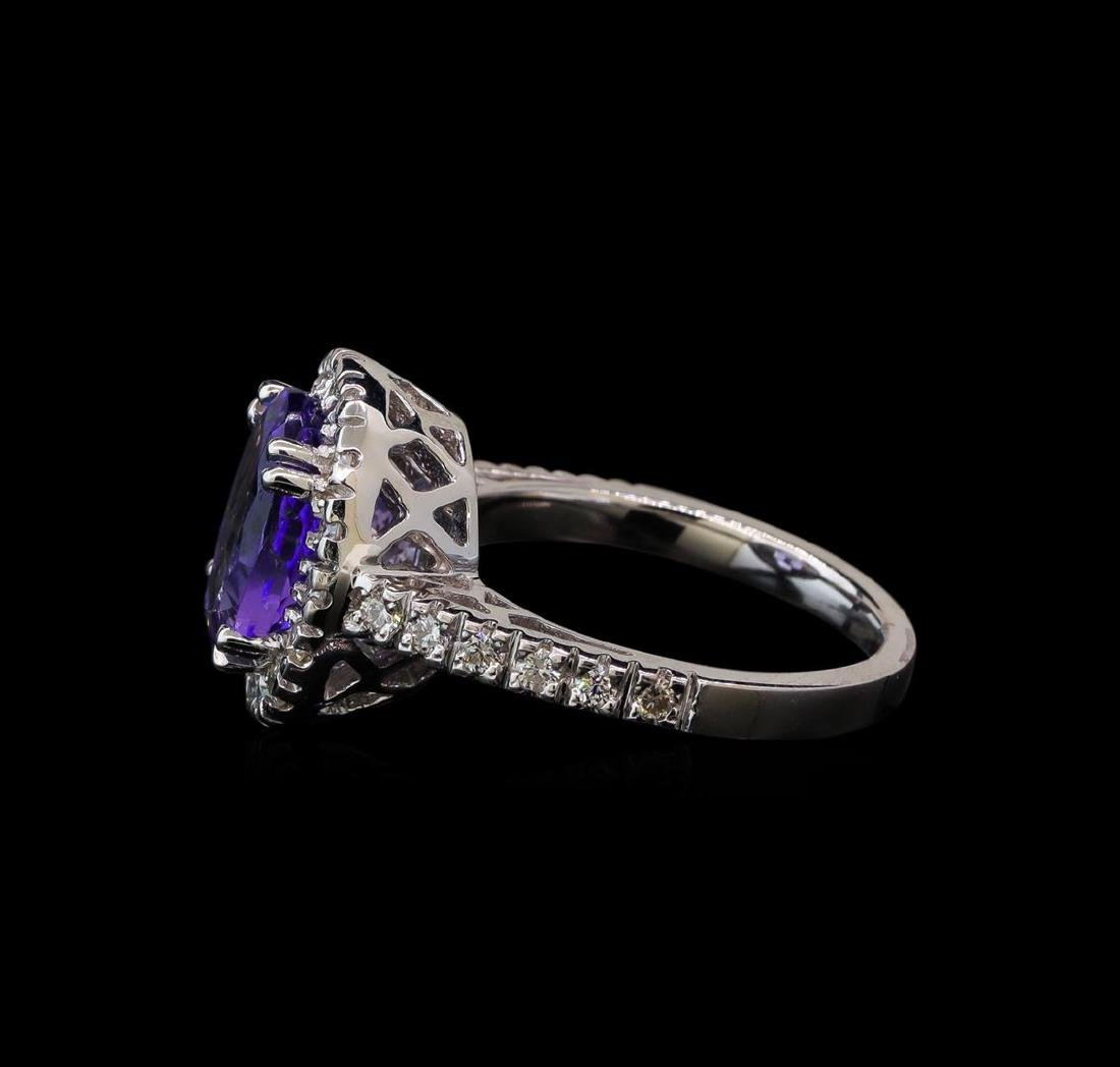3.38 ctw Tanzanite and Diamond Ring - 14KT White Gold - 3