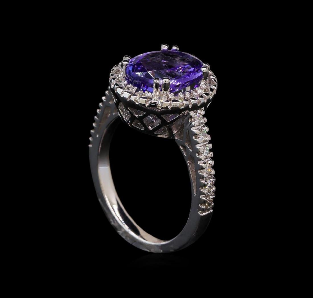 3.38 ctw Tanzanite and Diamond Ring - 14KT White Gold - 4