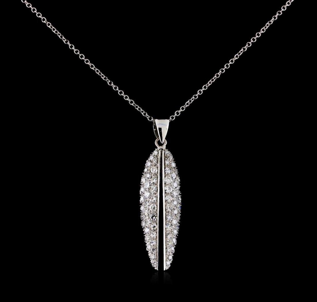 0.82 ctw Diamond Pendant With Chain - 14-18KT White