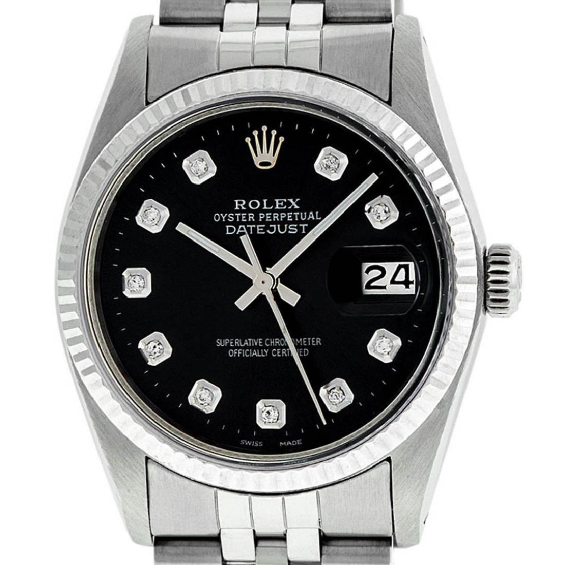 Rolex Mens Stainless Steel Black Diamond 36MM Datejust