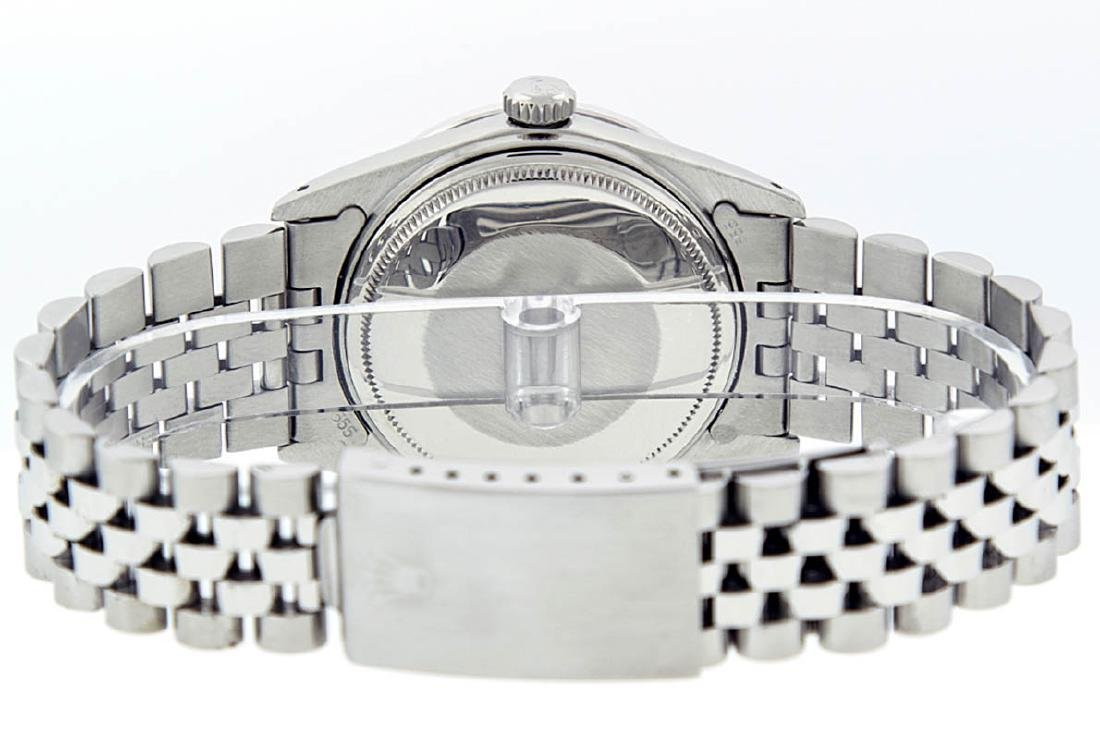 Rolex Mens Stainless Steel Black Diamond 36MM Datejust - 4