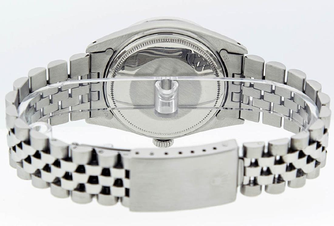 Rolex Mens Stainless Steel Black Diamond 36MM Datejust - 5