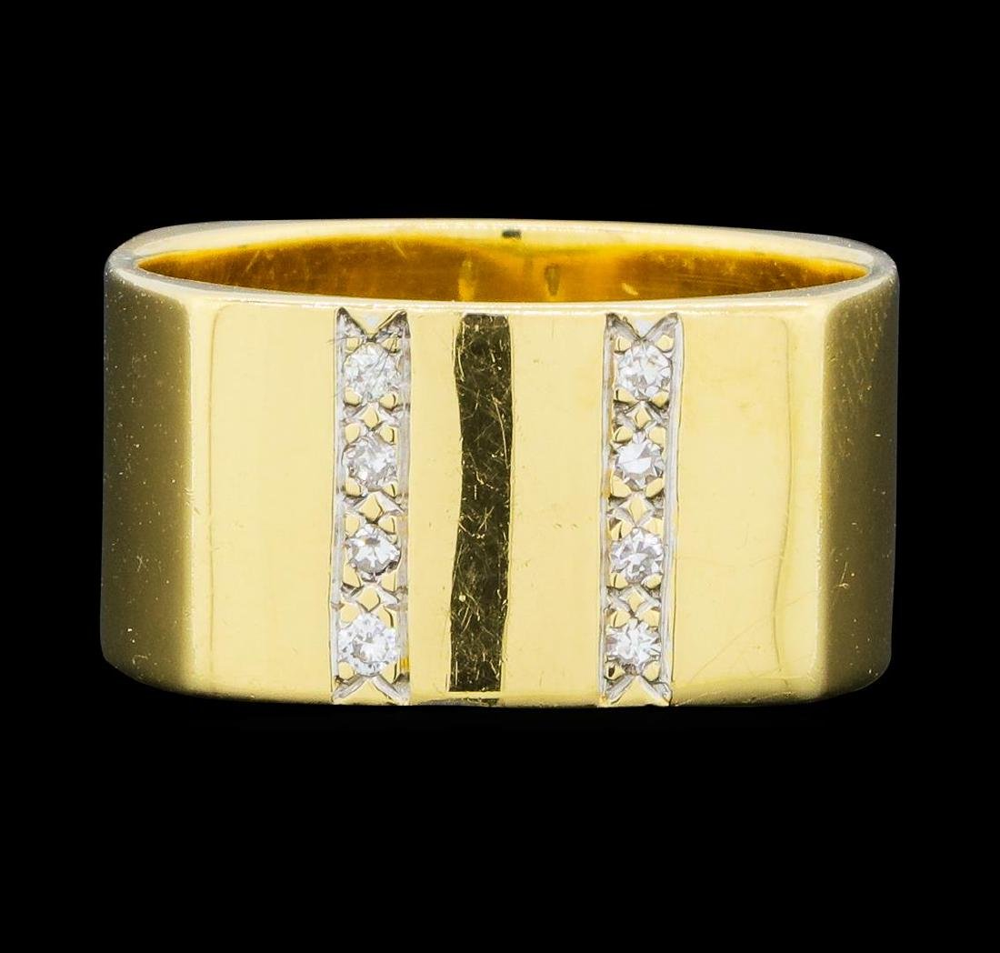 0.10 ctw Diamond Square Band - 14KT Yellow Gold - 2