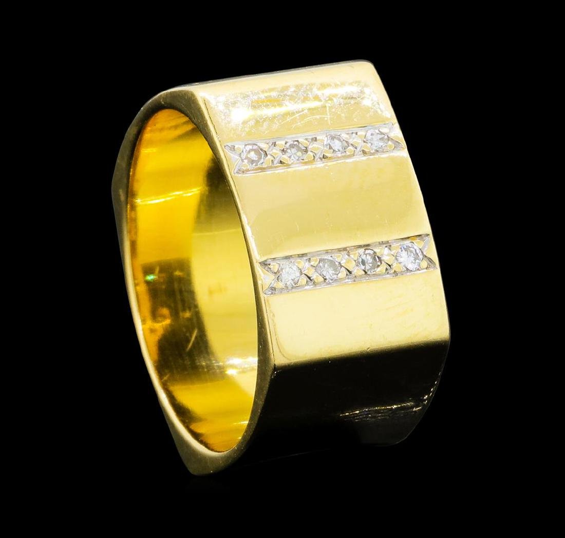 0.10 ctw Diamond Square Band - 14KT Yellow Gold - 4