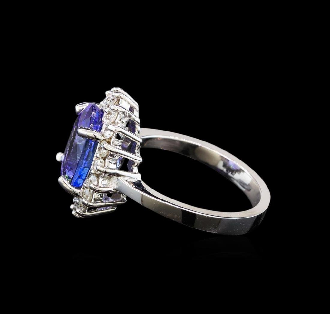 14KT White Gold 3.87 ctw Tanzanite and Diamond Ring - 3