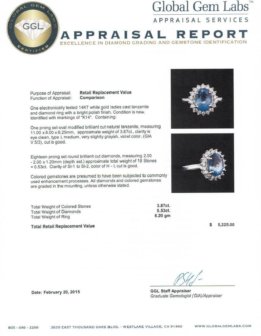 14KT White Gold 3.87 ctw Tanzanite and Diamond Ring - 5