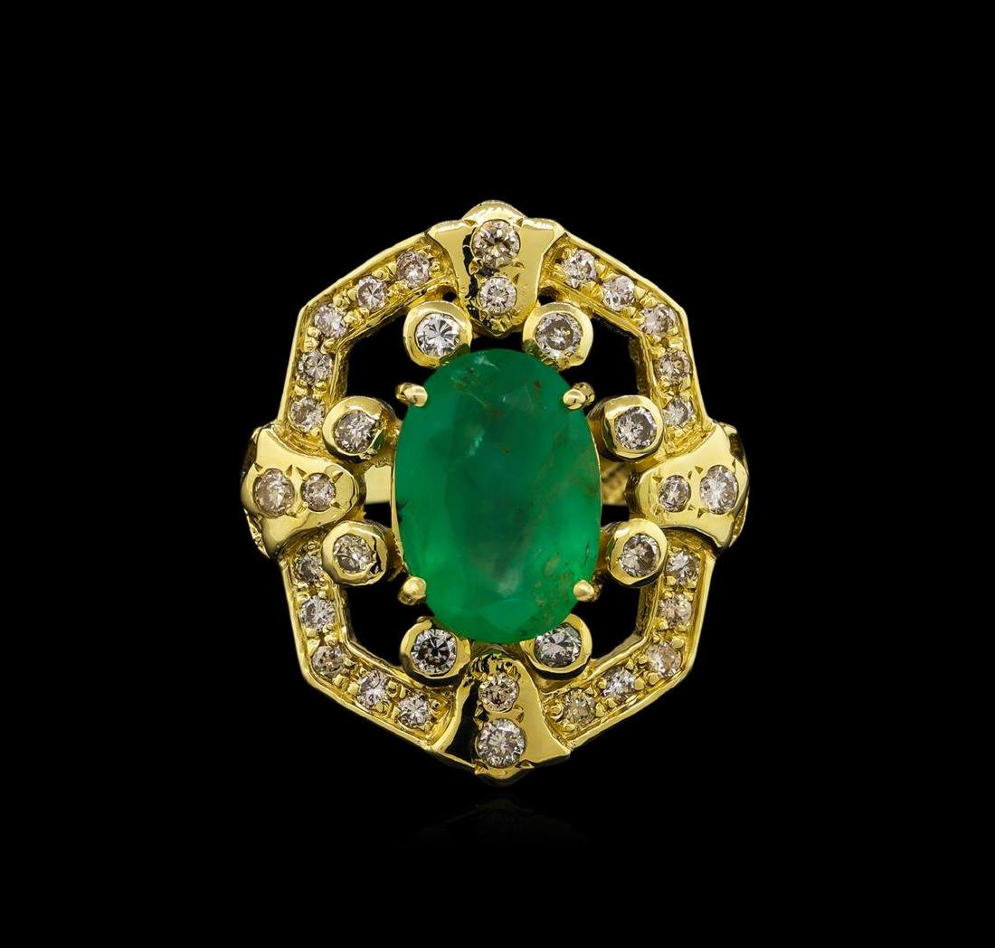 14KT Yellow Gold 3.73 ctw Emerald and Diamond Ring - 2