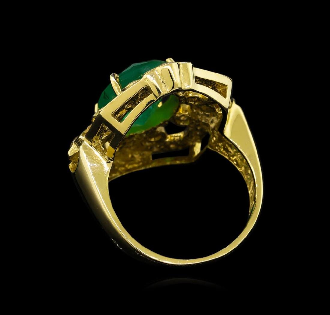 14KT Yellow Gold 3.73 ctw Emerald and Diamond Ring - 3