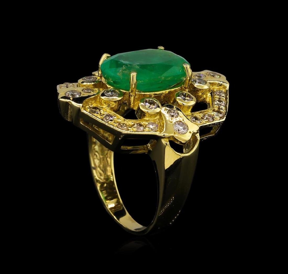 14KT Yellow Gold 3.73 ctw Emerald and Diamond Ring - 4