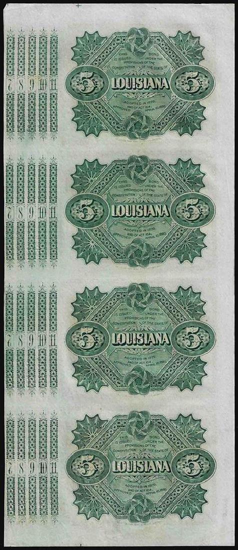 Uncut Sheet of (4) State of Louisiana Baby Bond - 2