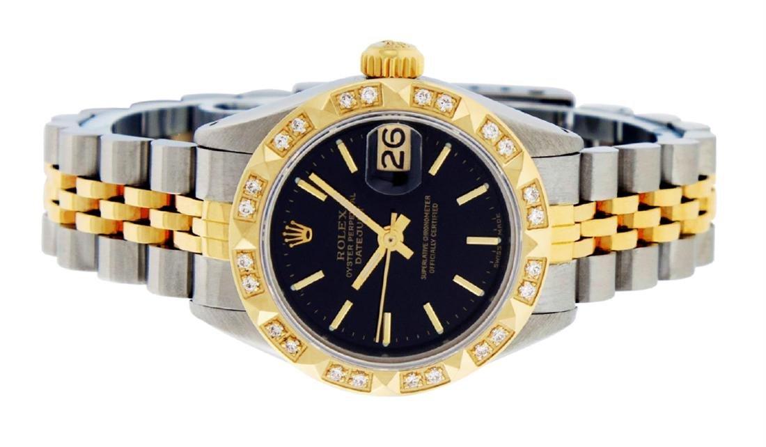 Rolex Ladies 2 Tone 14K Black Index & Pyramid Diamond - 4