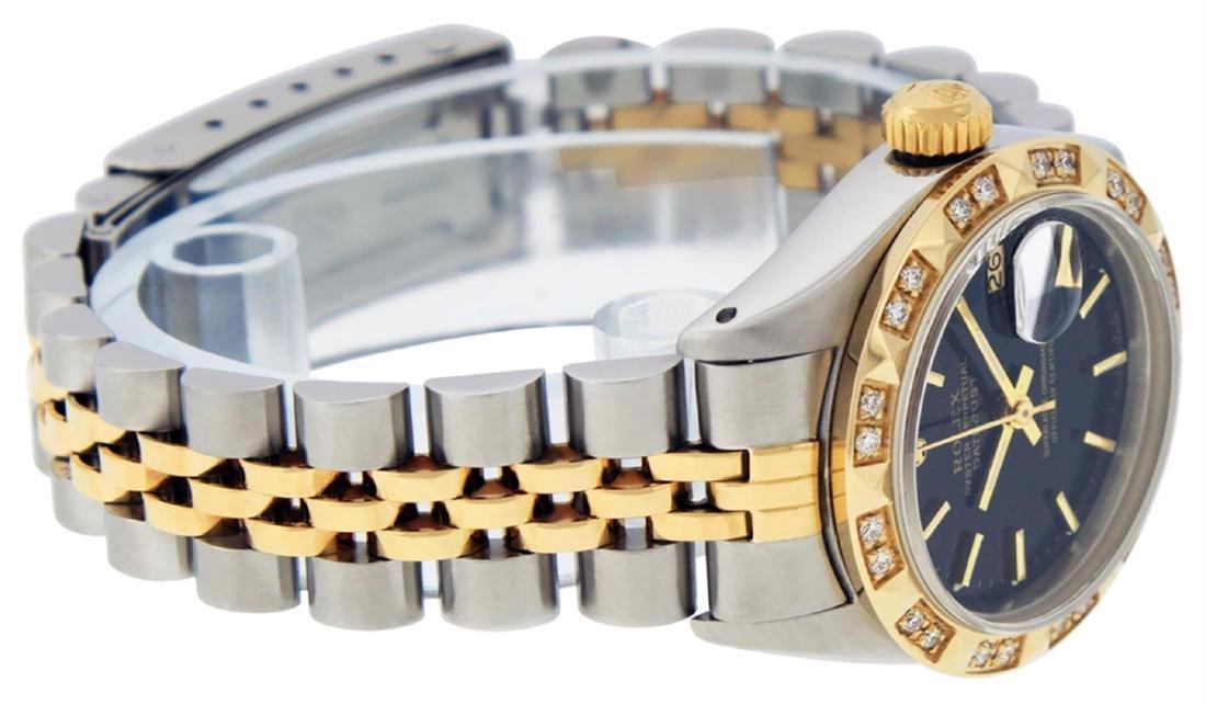Rolex Ladies 2 Tone 14K Black Index & Pyramid Diamond - 5