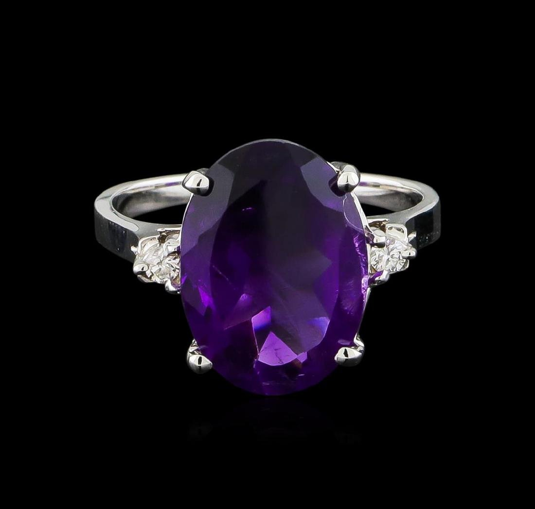 4.76 ctw Amethyst and Diamond Ring - 14KT White Gold - 2