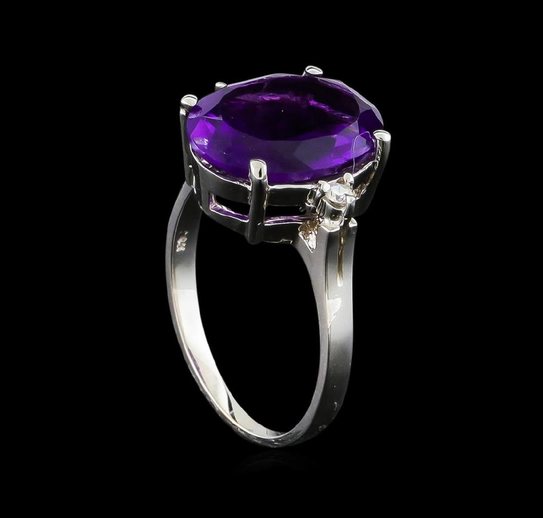 4.76 ctw Amethyst and Diamond Ring - 14KT White Gold - 4