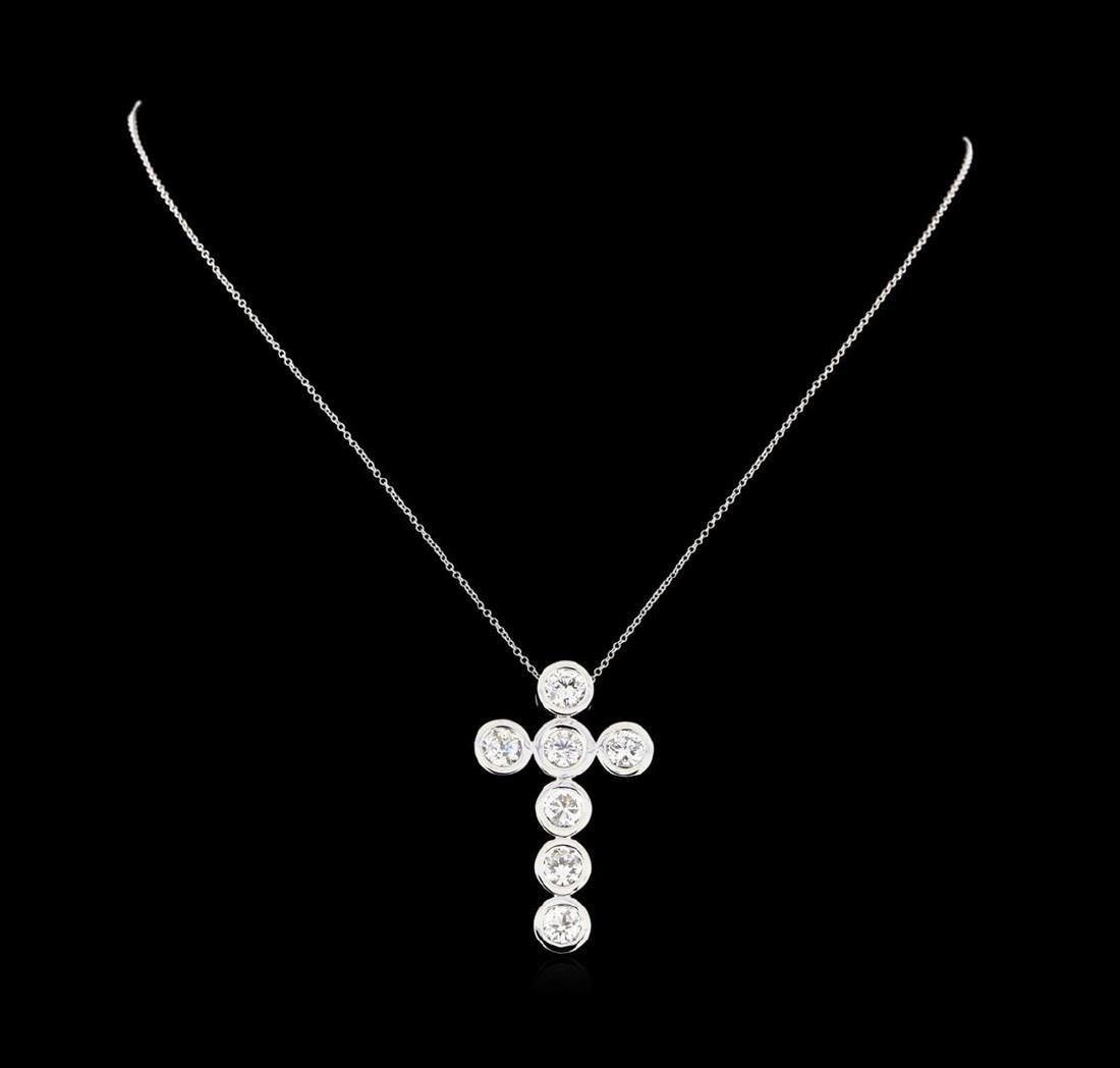 3.79 ctw Diamond Cross Pendant with Chain - 14KT White