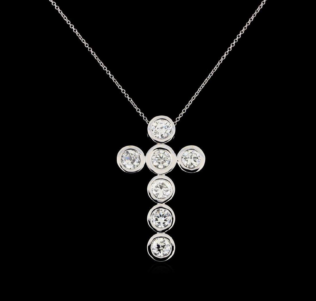 3.79 ctw Diamond Cross Pendant with Chain - 14KT White - 2