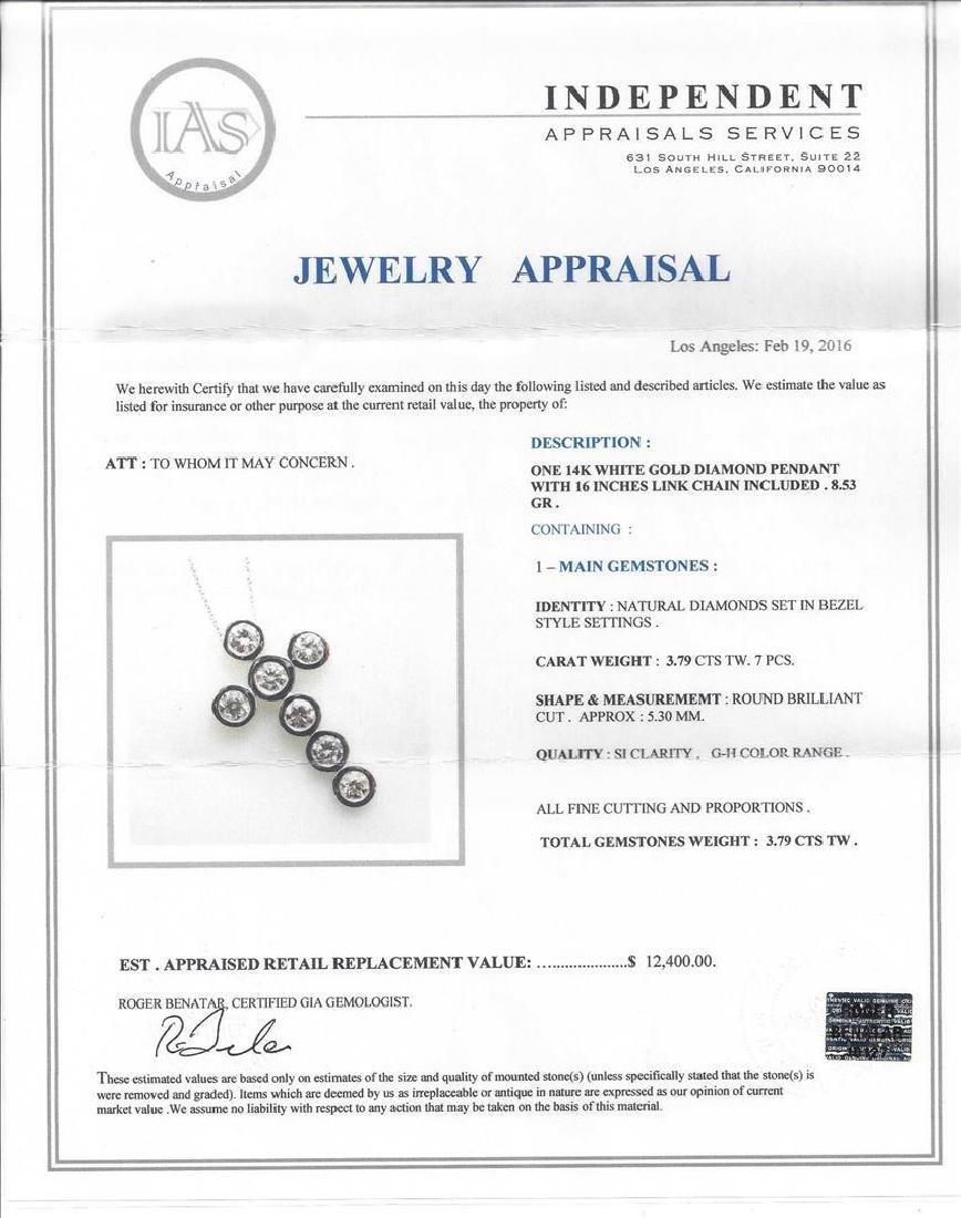 3.79 ctw Diamond Cross Pendant with Chain - 14KT White - 3