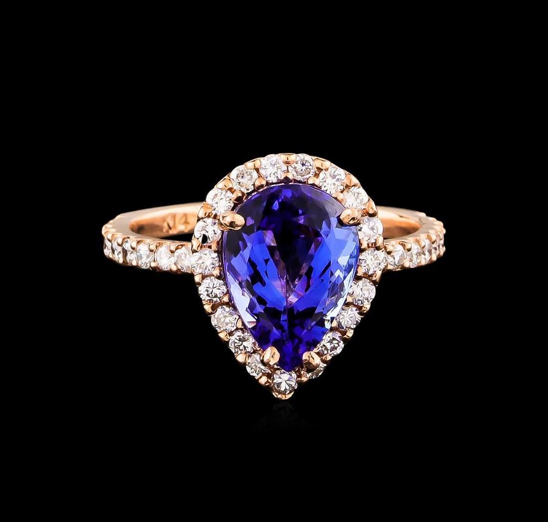 14KT Rose Gold 2.77 ctw Tanzanite and Diamond Ring - 2