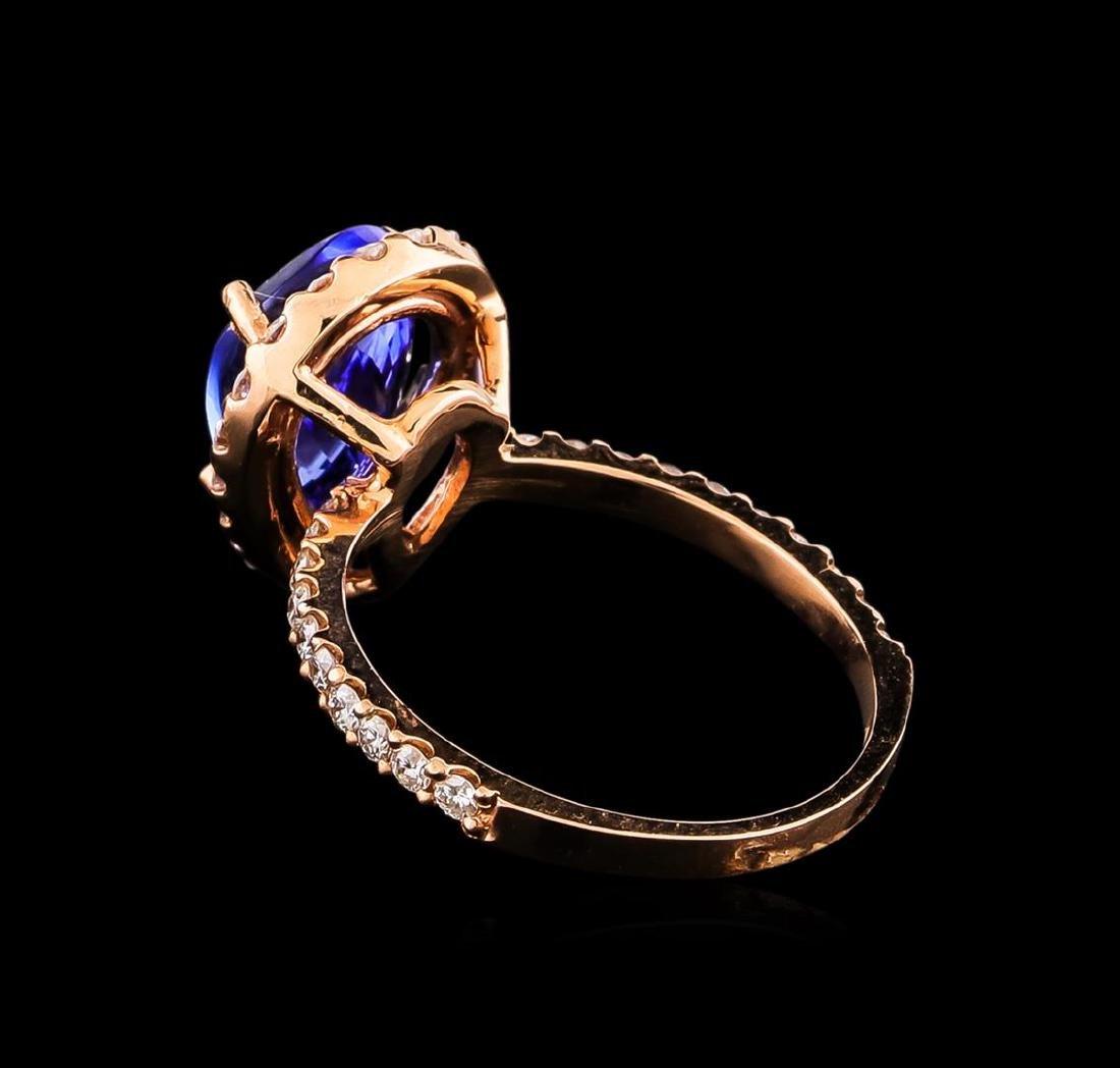 14KT Rose Gold 2.77 ctw Tanzanite and Diamond Ring - 3