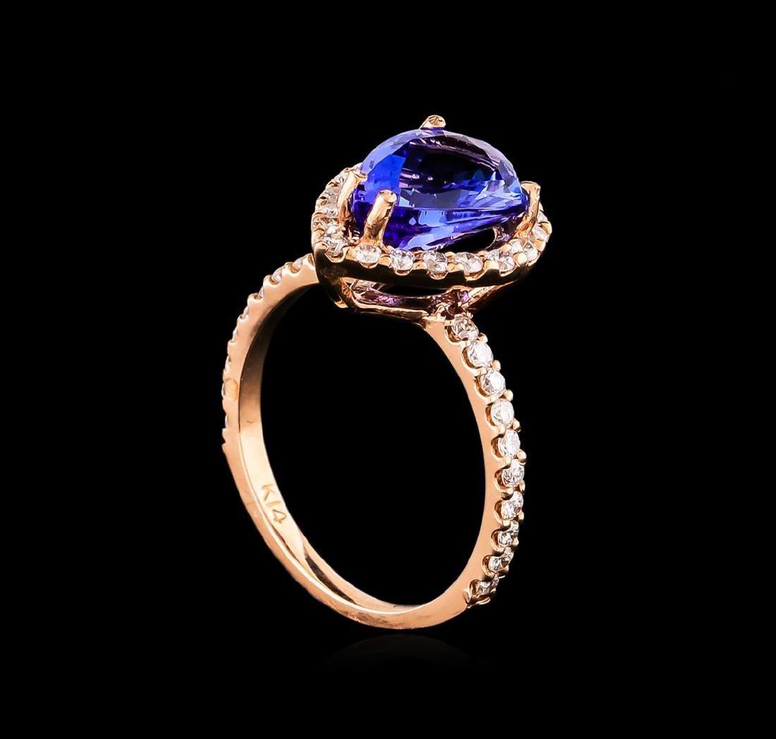 14KT Rose Gold 2.77 ctw Tanzanite and Diamond Ring - 4