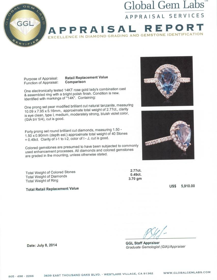 14KT Rose Gold 2.77 ctw Tanzanite and Diamond Ring - 5