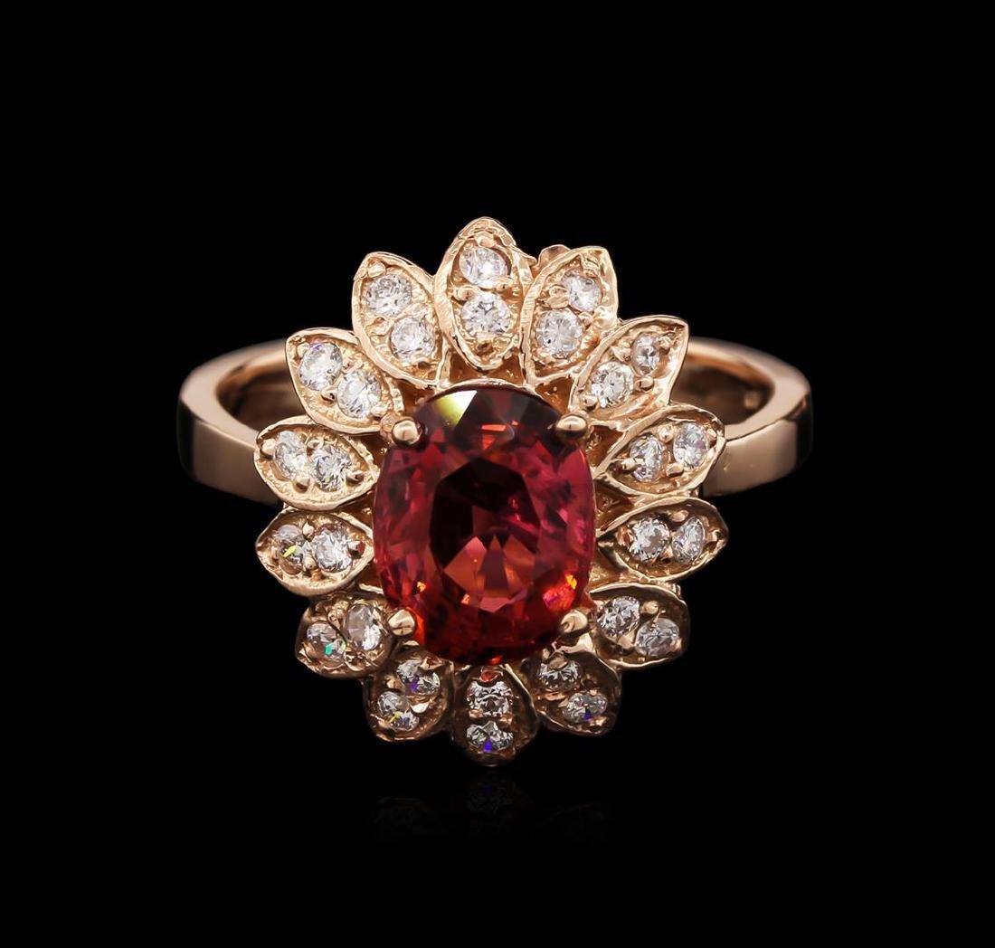 2.22 ctw Pink Tourmaline and Diamond Ring - 14KT Rose