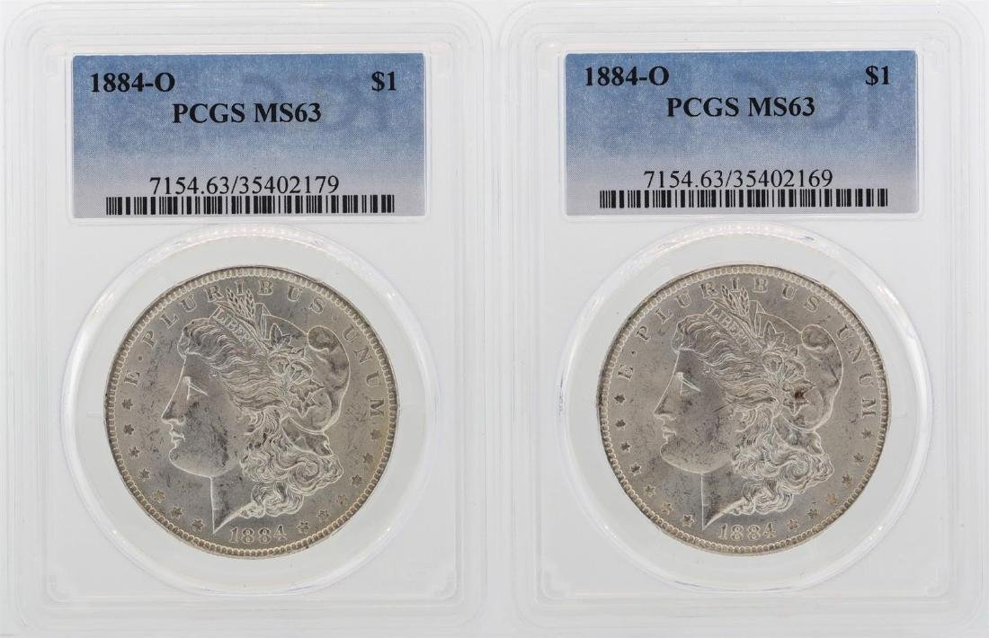 Lot of (2) 1884-O $1 Morgan Silver Dollar Coins PCGS
